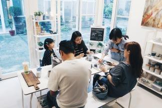 2017/10/21 上課花絮與記錄:/ 一方一圓 / 多肉水泥盆栽輕體驗