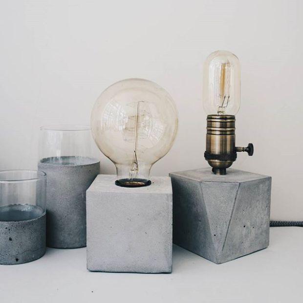 玻璃水泥杯與復古水泥燈