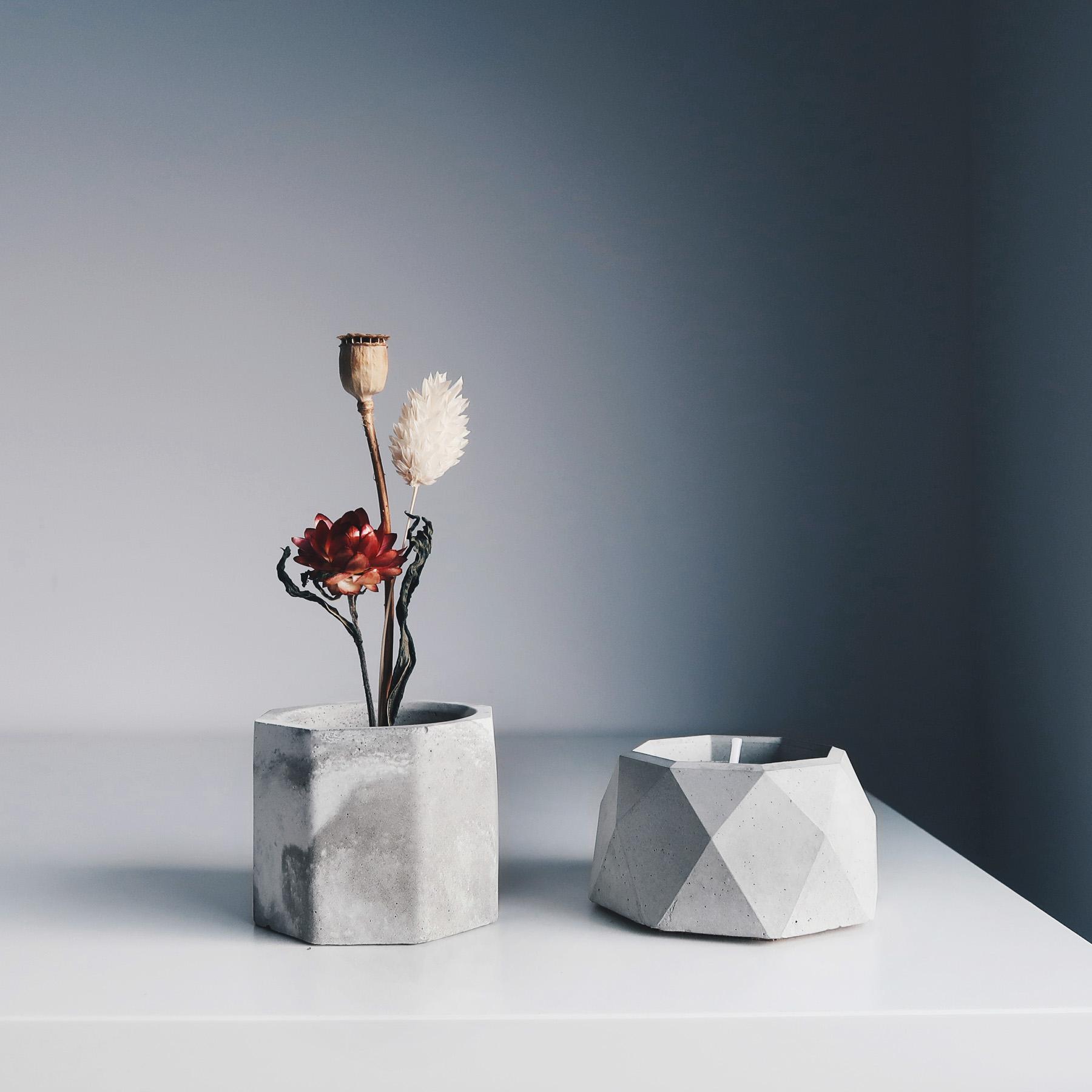 BLOOMING 綻放水泥銅座盆器・線香燭台・收納盤組 / Concrete candle holder, vase & dish gift set