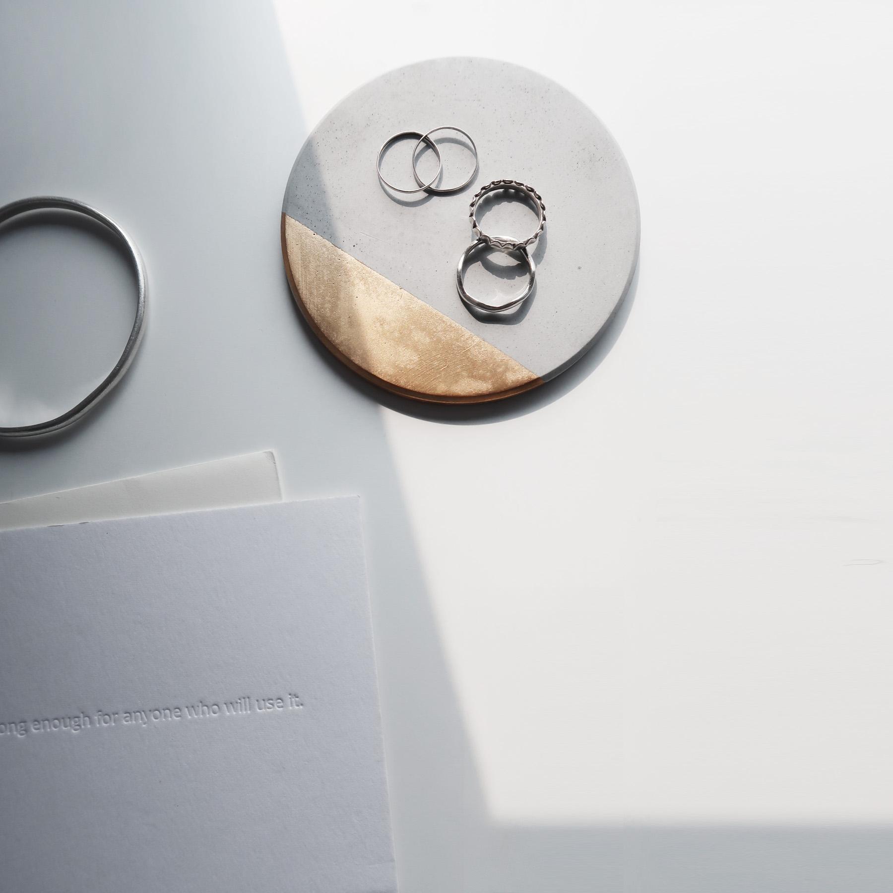 ECLIPSE 月蝕金邊倒角設計水泥吸水圓墊・杯墊・飾品盤