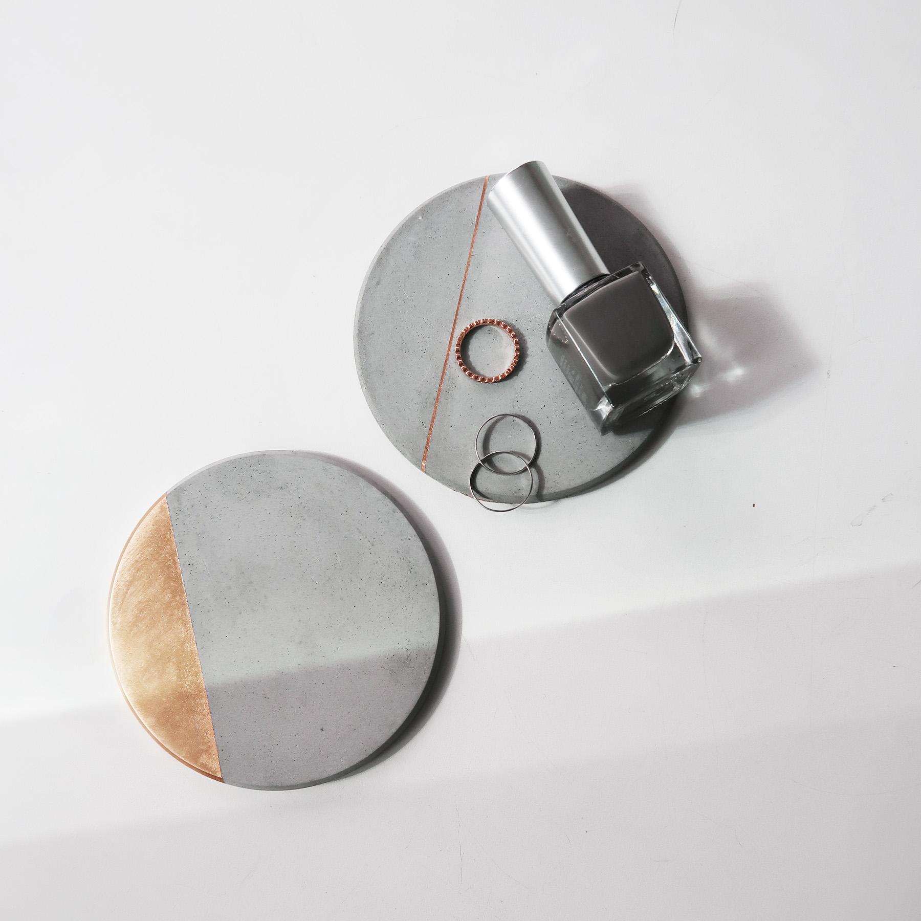 Jewelry Dish 金色倒角設計水泥吸水杯墊・飾品陳列・設計禮物