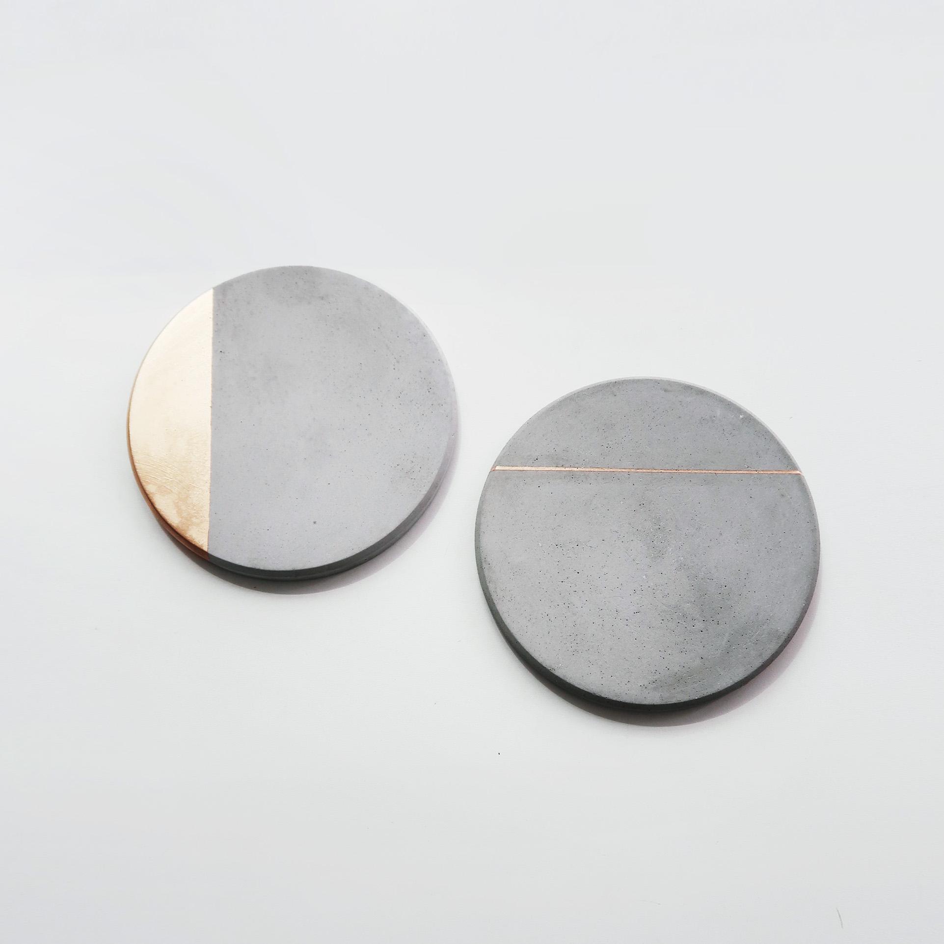 Home Decor 月蝕金邊倒角設計水泥圓墊・飾品陳列・居家佈置