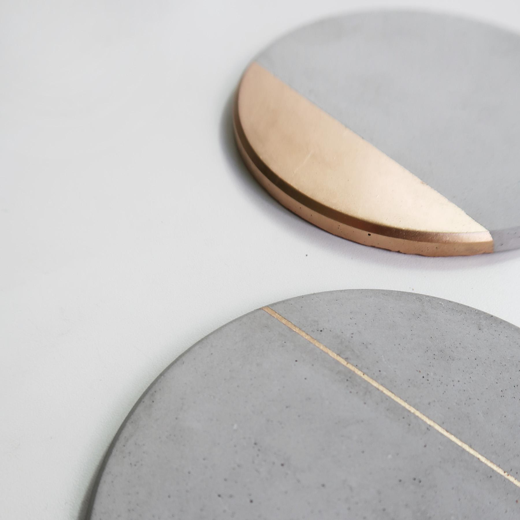 Concrete Design 月蝕金邊倒角設計水泥吸水圓墊・杯墊・飾品盤