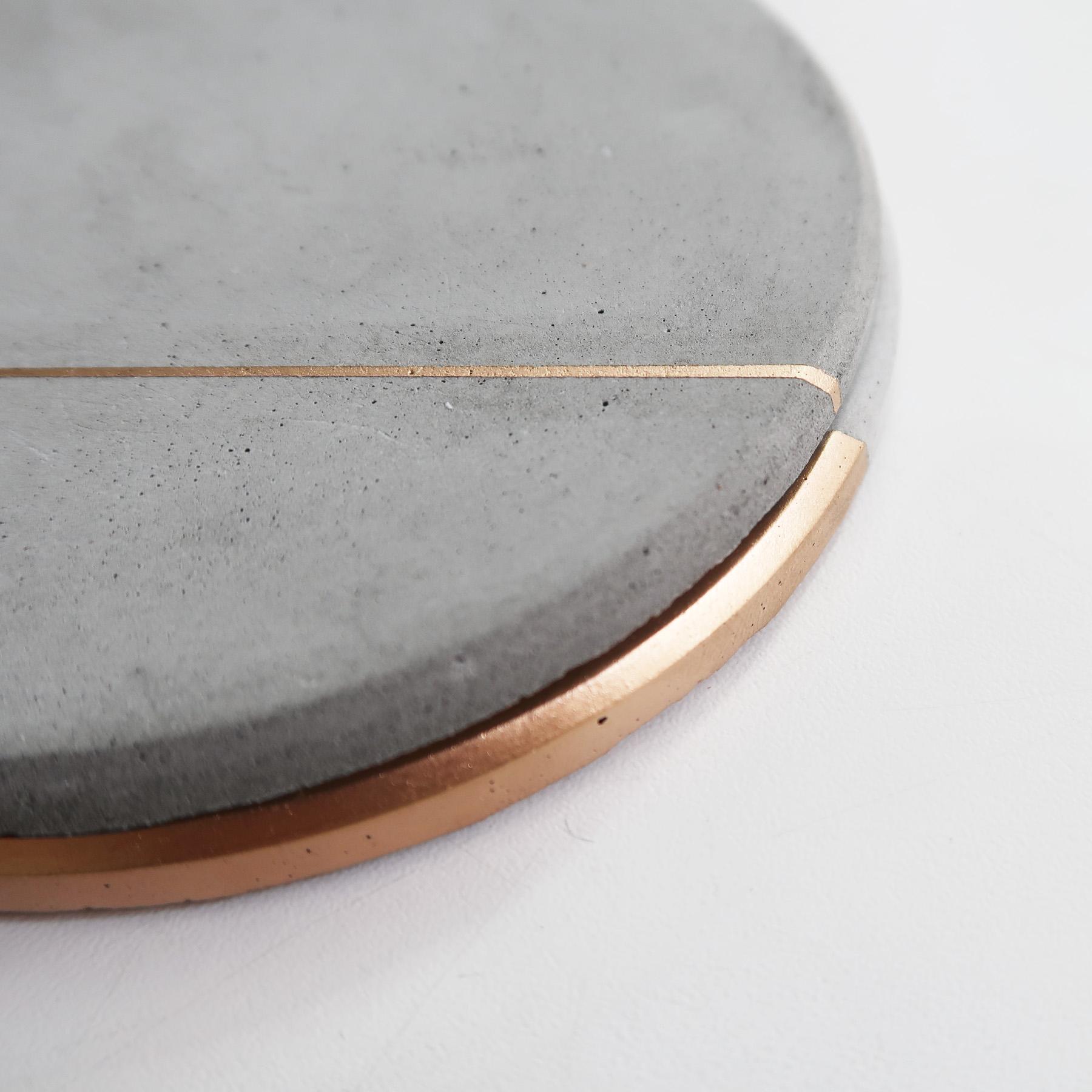 Concrete Design 曙光金線水泥吸水圓墊・杯墊・飾品盤 - 倒角設計