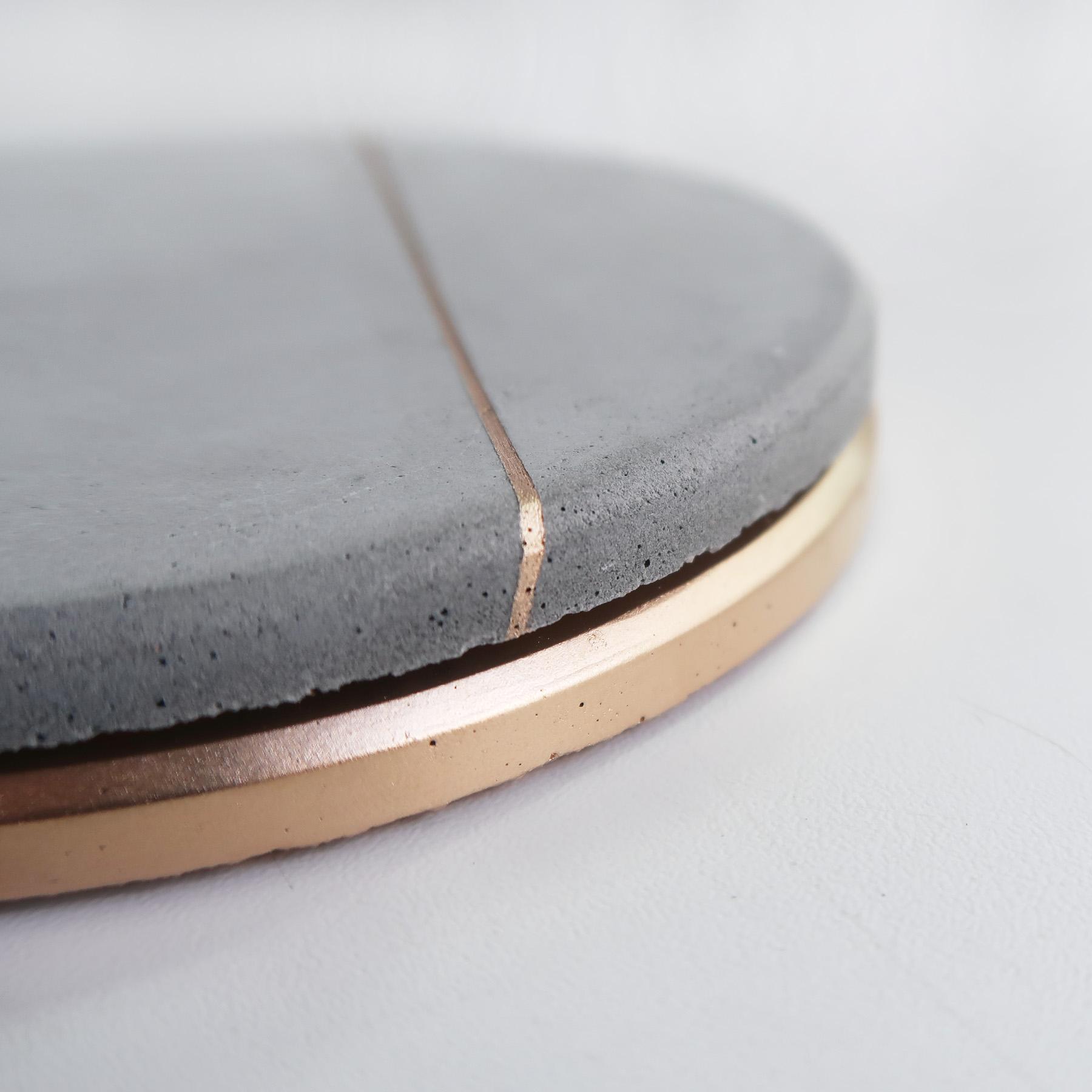 Concrete Design 月蝕金邊水泥吸水圓墊・杯墊・飾品盤 - 倒角設計