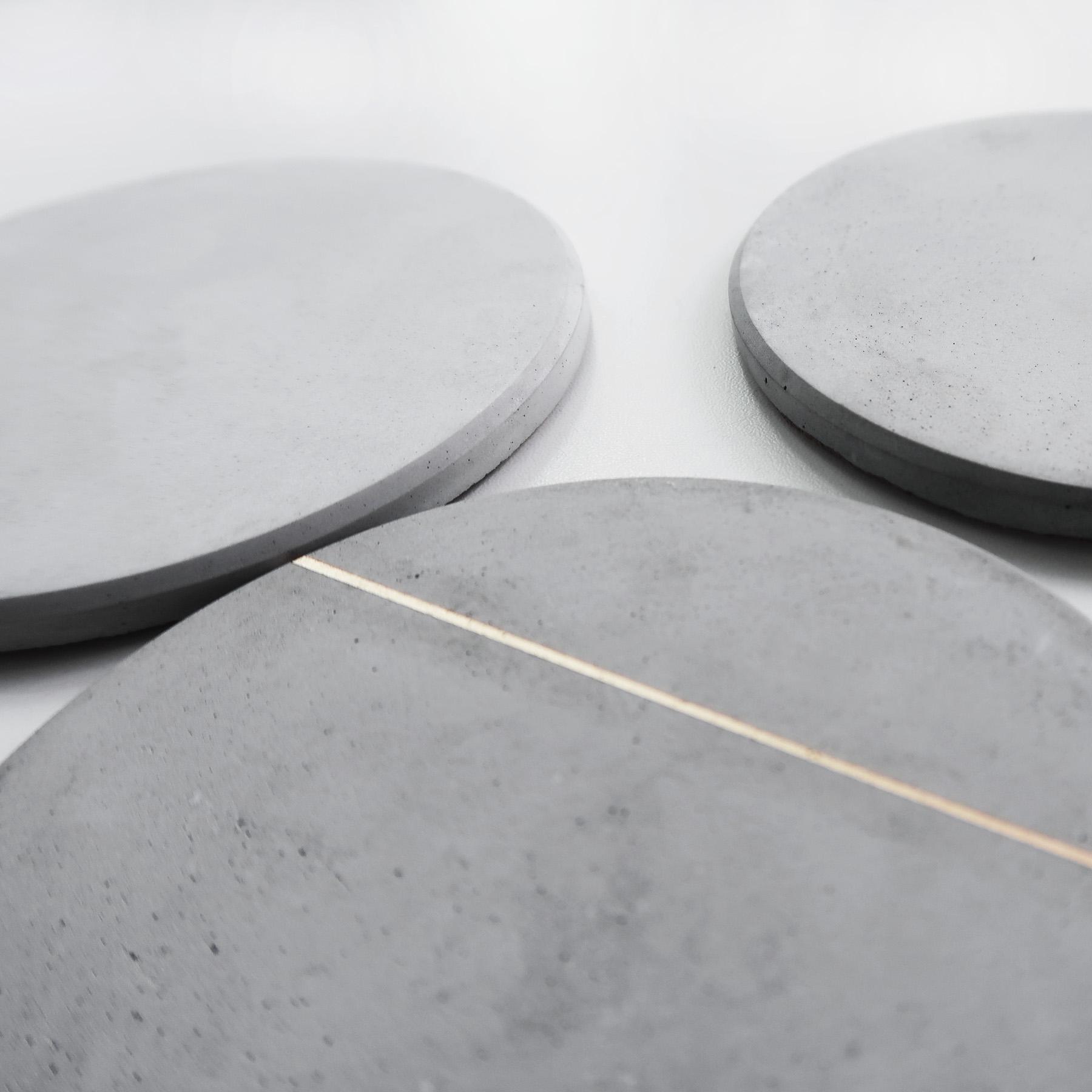 Concrete Design 大氣層灰白紋理水泥吸水圓墊・杯墊・飾品盤 - 倒角設計