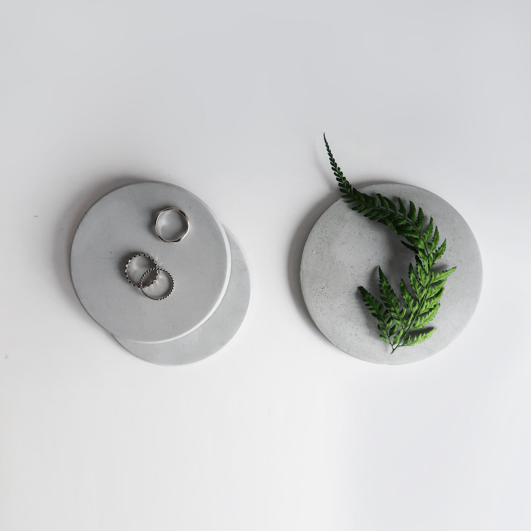 Jewelry Dish  大氣層灰白紋理水泥圓墊・飾品陳列・設計禮物