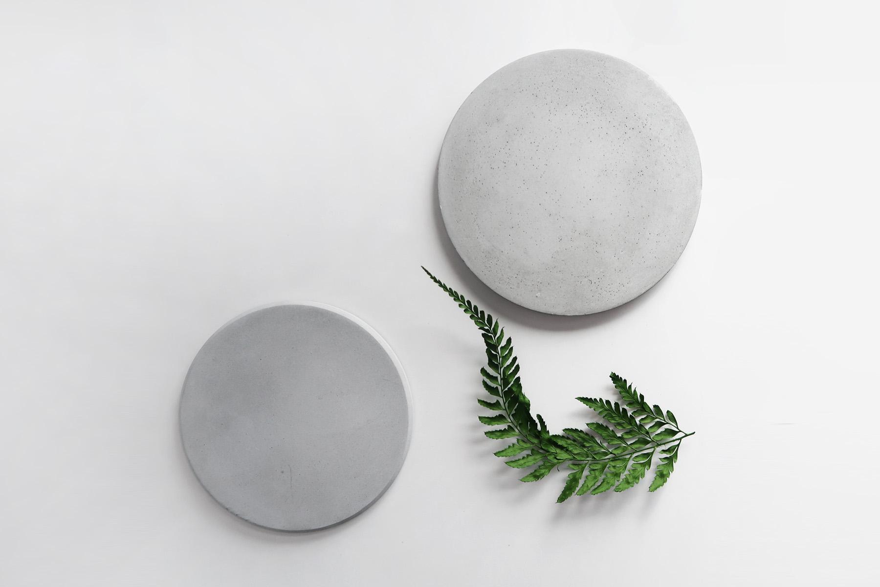 PURE MOON 月亮灰色質地水泥吸水杯墊・飾品盤