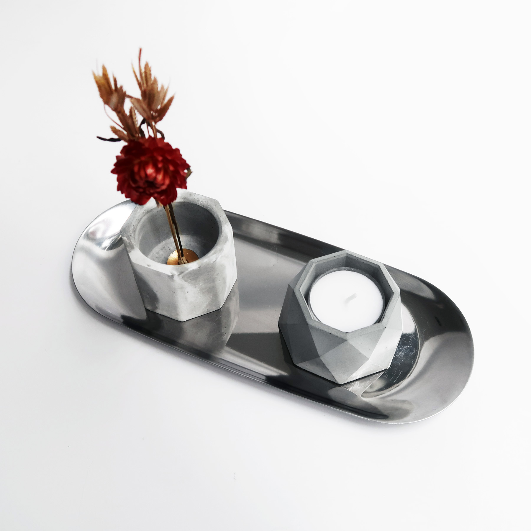 BLOOMING 綻放水泥黃銅花器・線香燭台・飾品盤禮盒組