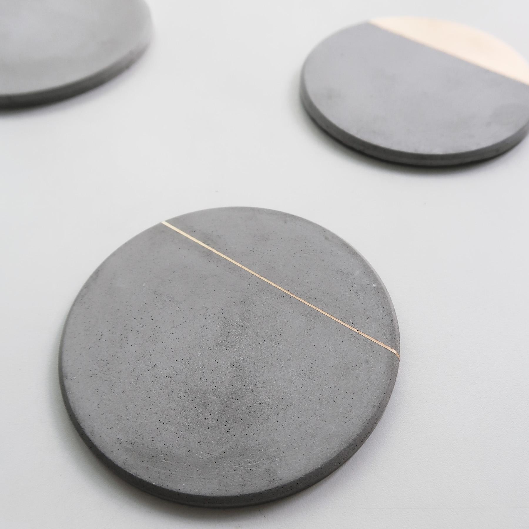 Concrete Design 曙光金線倒角設計水泥吸水圓墊・杯墊・飾品盤