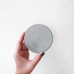 SILVER LINING 曙光金線光澤水泥吸水杯墊・飾品盤 / Concrete absorbent coaster, Jewelry dish
