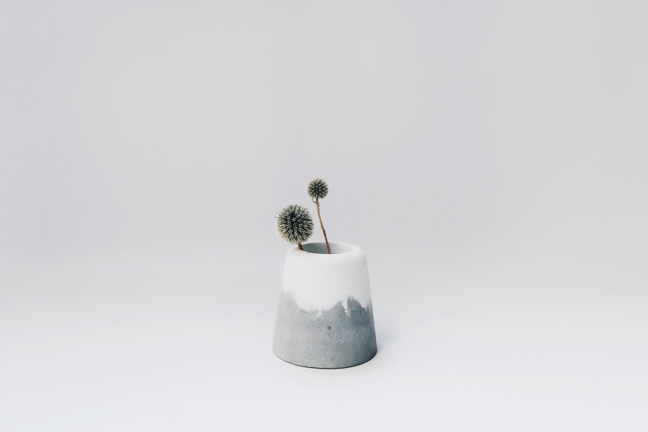 SNOW VOLCANO 雪火山雙色水泥盆器