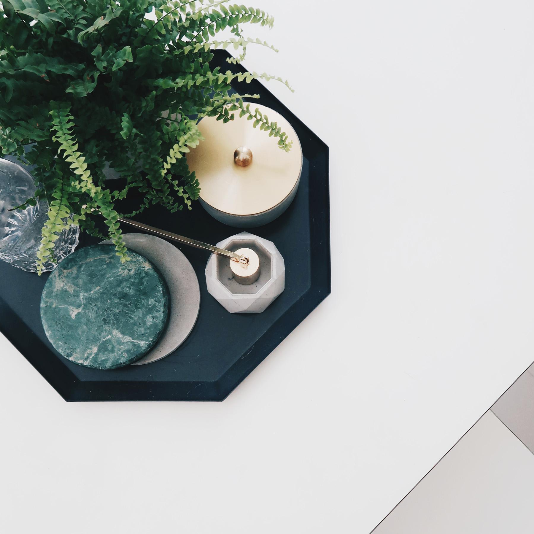 Home Decor 懸月圓球黃銅蓋水泥收納容器 - 居家擺飾搭配