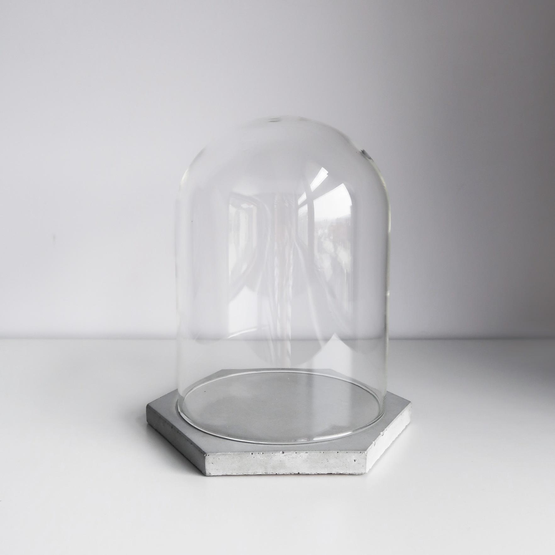 Concrete Design 六角水泥飾盤玻璃屋鐘罩