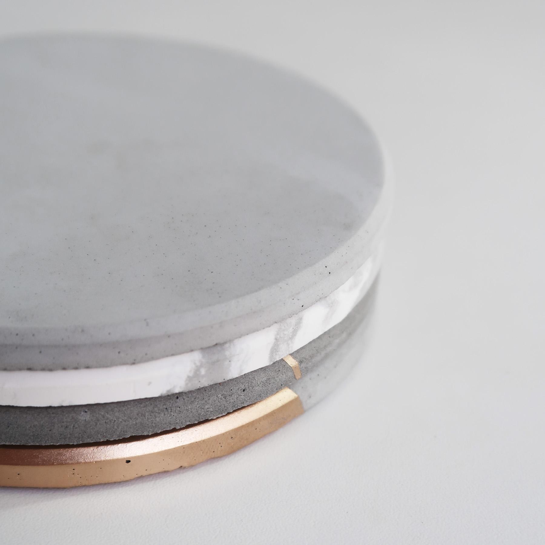 Concrete Design 太陽系水泥吸水圓墊・杯墊・飾品盤 - 倒角設計