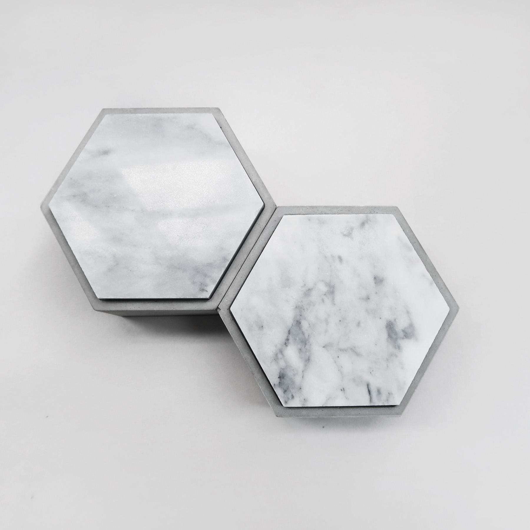 Concrete Design 雲岩六角大理石蓋水泥收納容器・飾品盒・煙灰缸