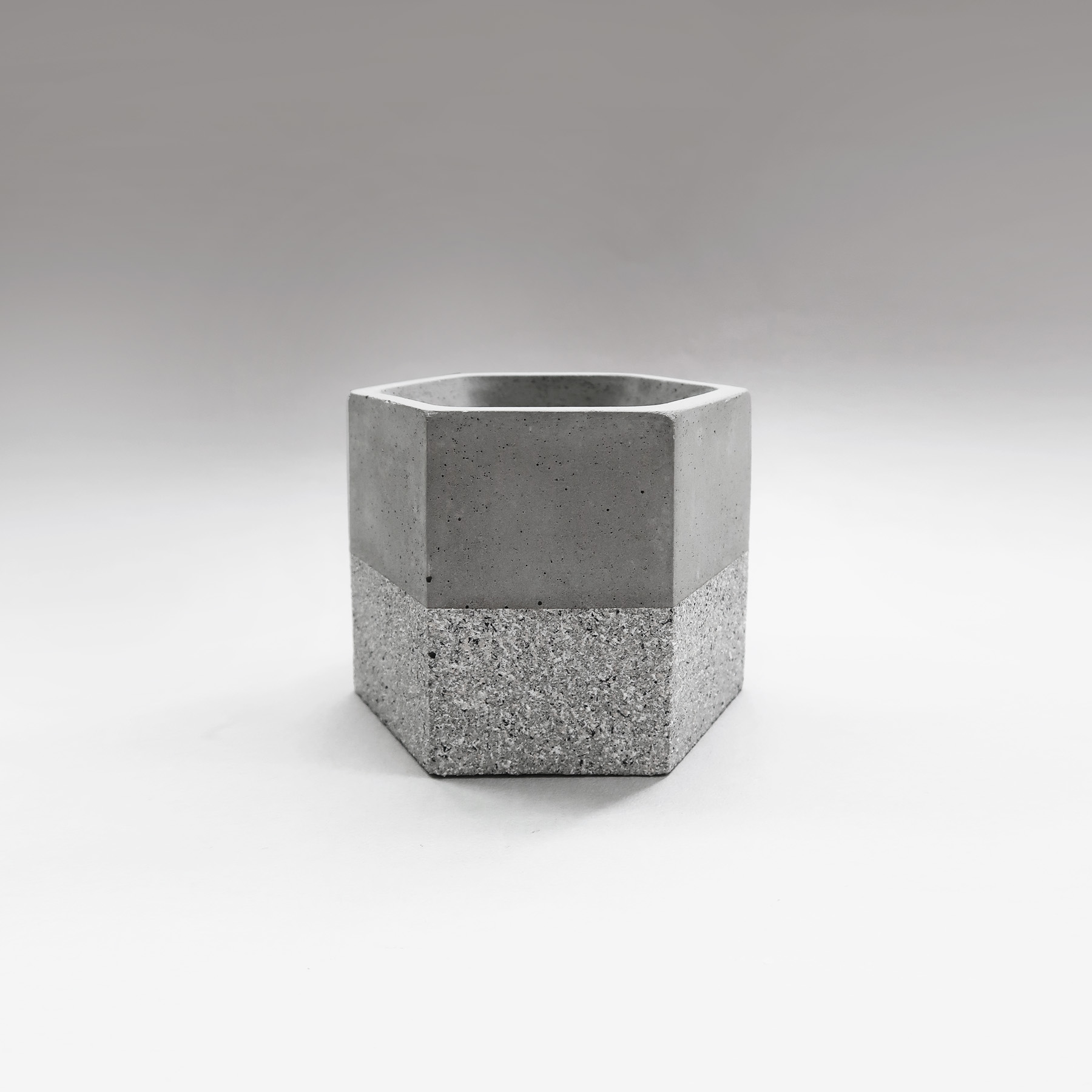 GRANITE 花崗岩六角水泥設計盆器・盆栽