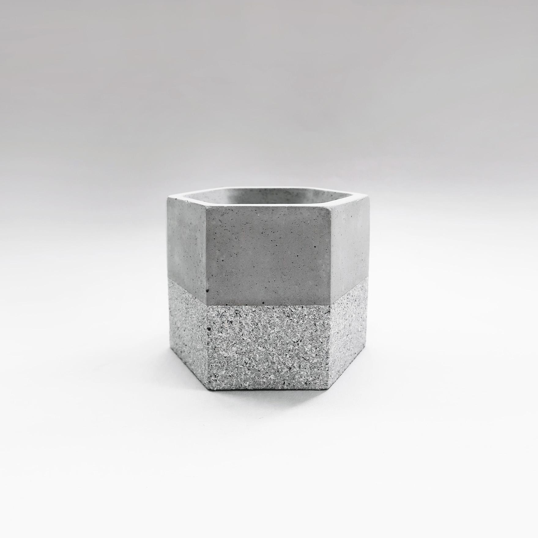 GRANITE 花崗岩雙色六角水泥盆器 / hexagonal concrete pot