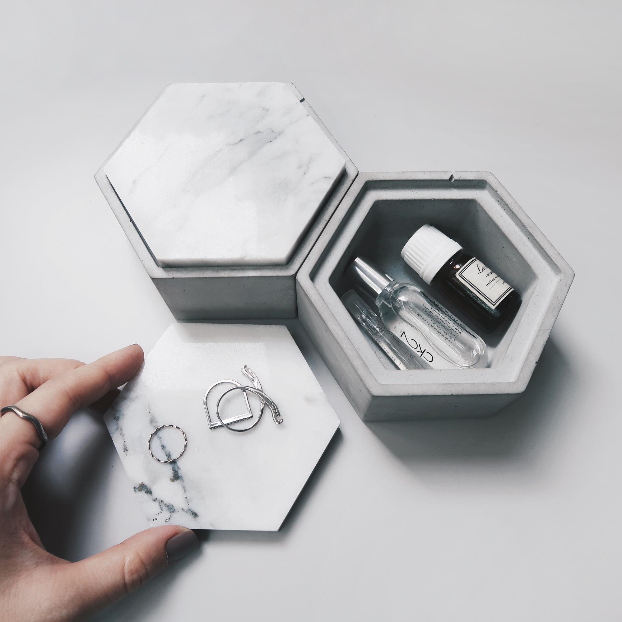Concrete Design 雲岩六角大理石蓋水泥收納容器・飾品盒・儲物盒