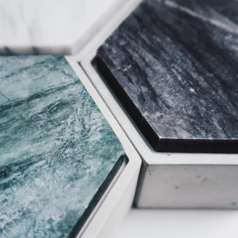 THE ROCK 雲岩六角大理石蓋水泥收納容器・飾品盒