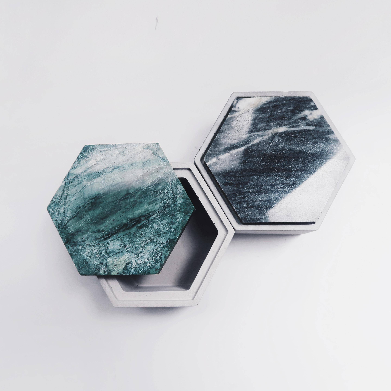 THE ROCK 雲岩六角大理石蓋水泥收納皿・飾品盒