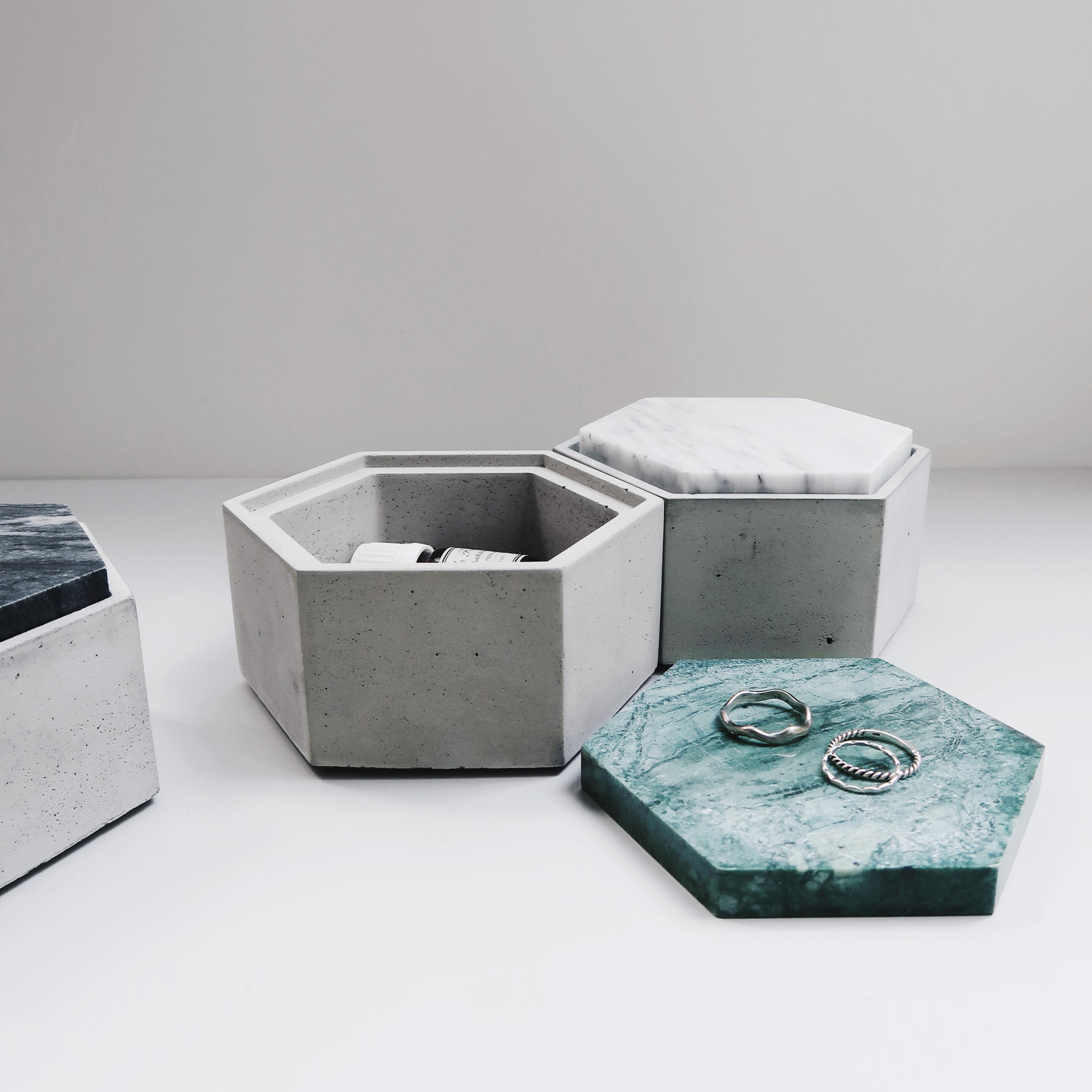 HOMEWARE 雲岩六角大理石蓋水泥收納容器・飾品盒・儲物盒