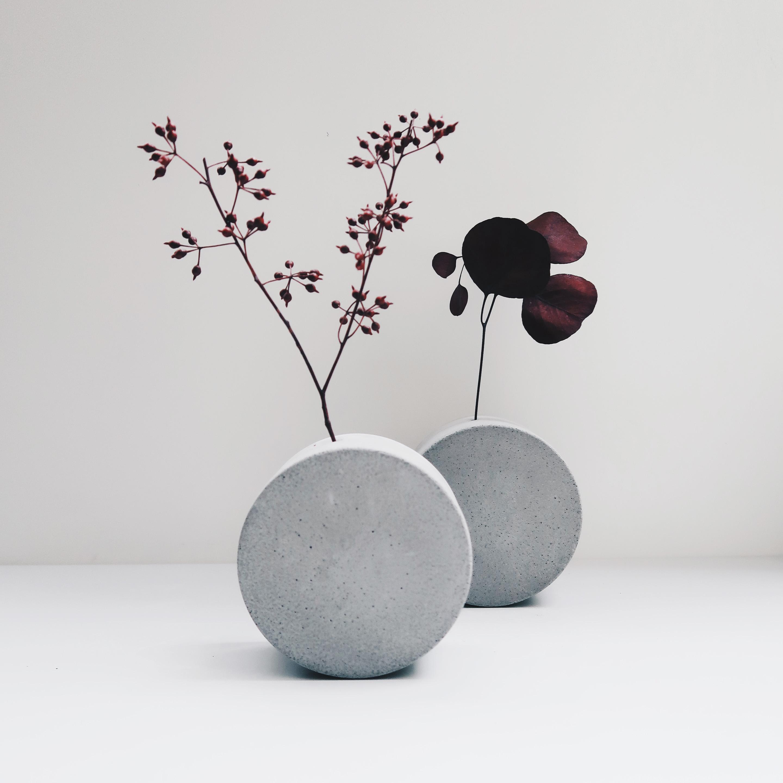 FULL MOON 望月圓形轉轉水泥花器・花插・花瓶 / Round and round oncrete vase