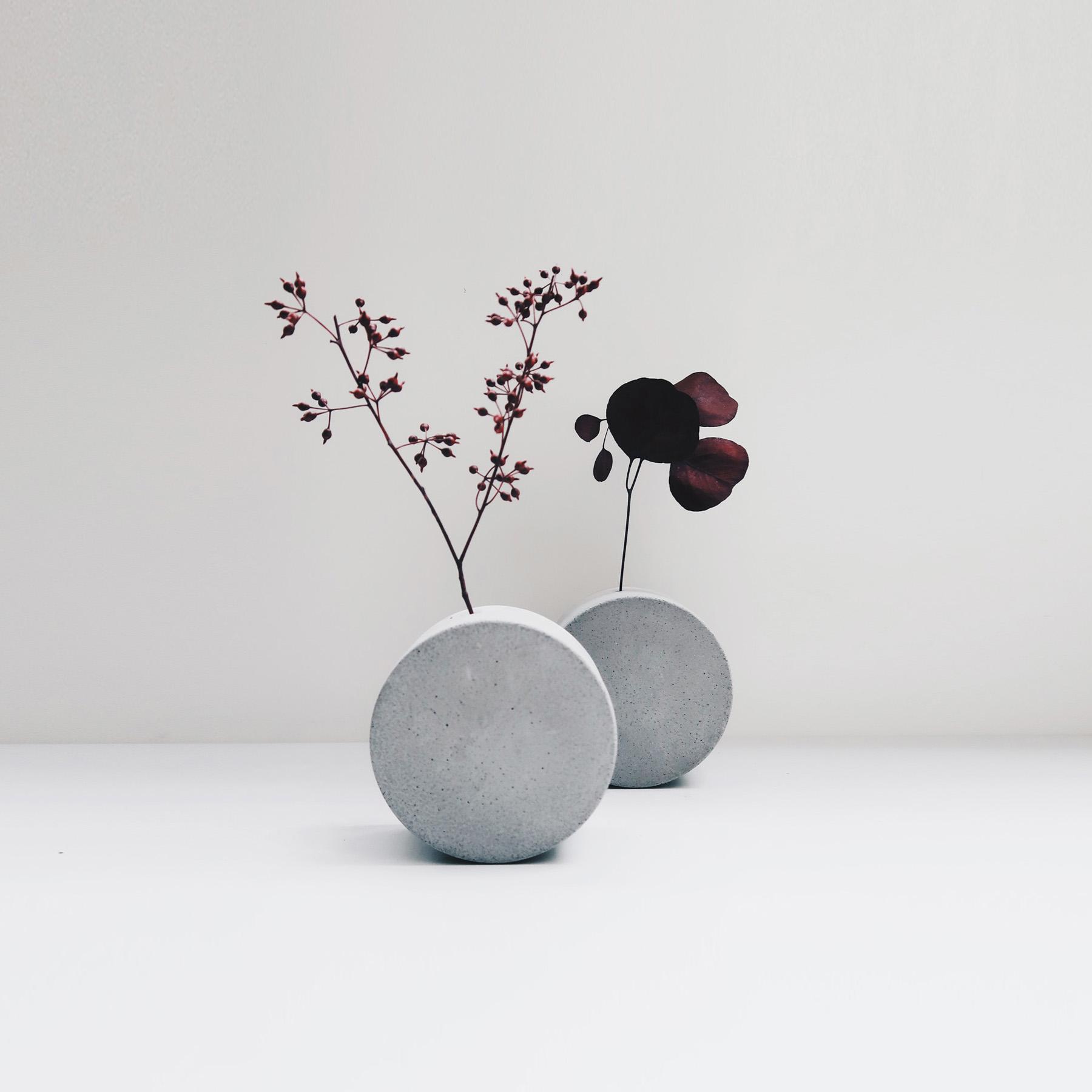 FULL MOON 望月圓形轉轉水泥花器・花插・花瓶
