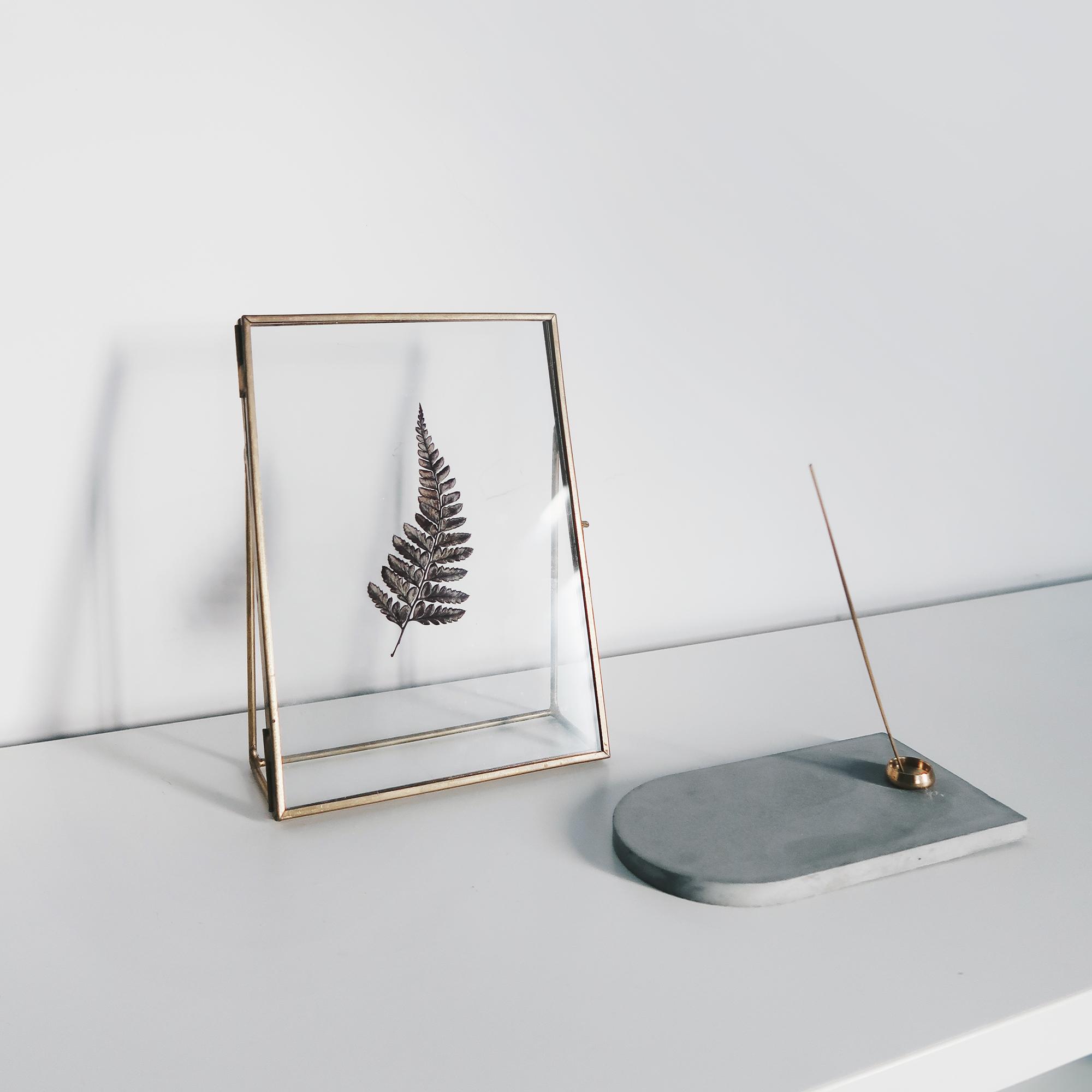 CARRARA 卡拉拉大理石紋水泥黃銅花器・燭臺・線香座