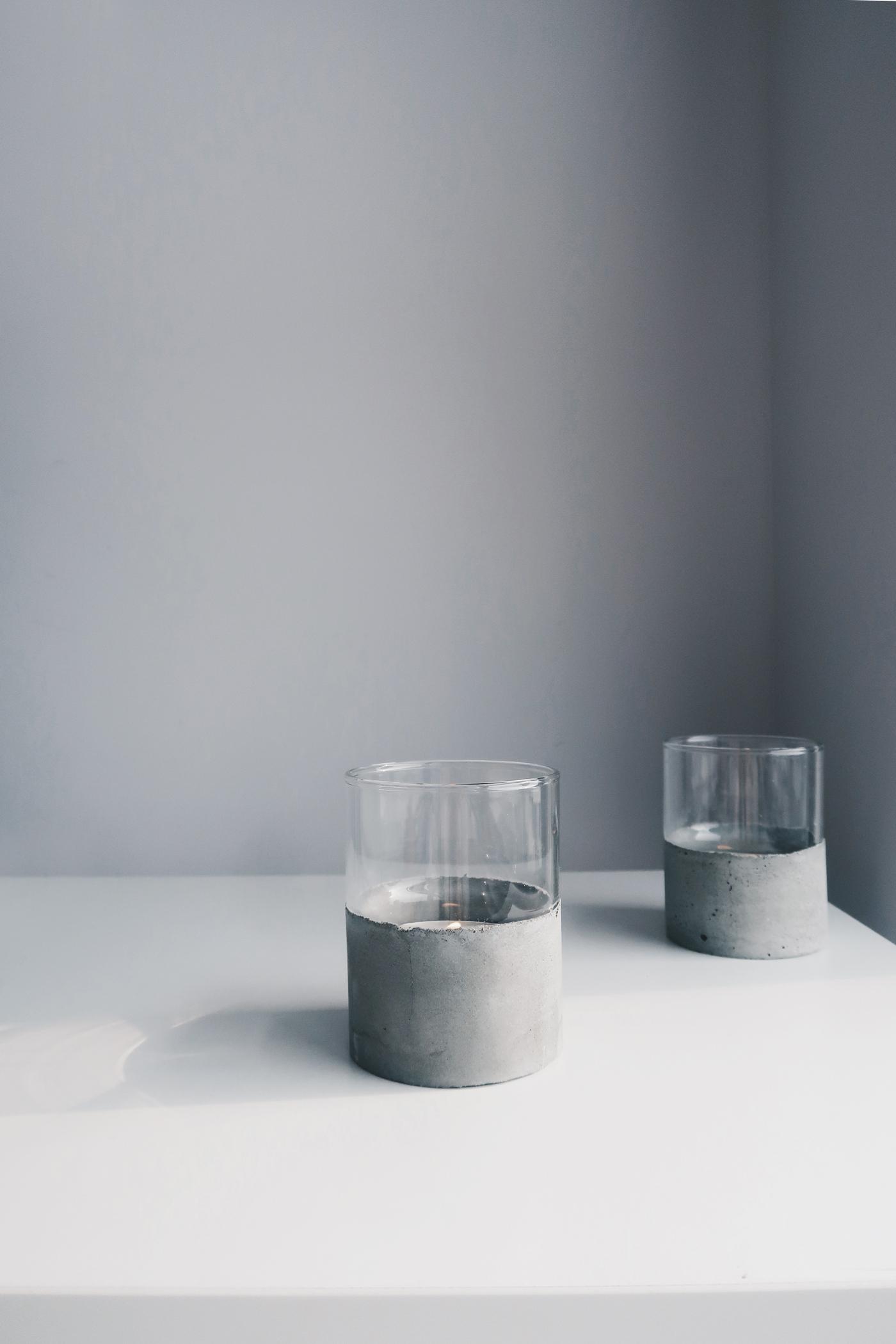 灰調|DIY手作教學:極簡粗獷・水泥玻璃杯完成