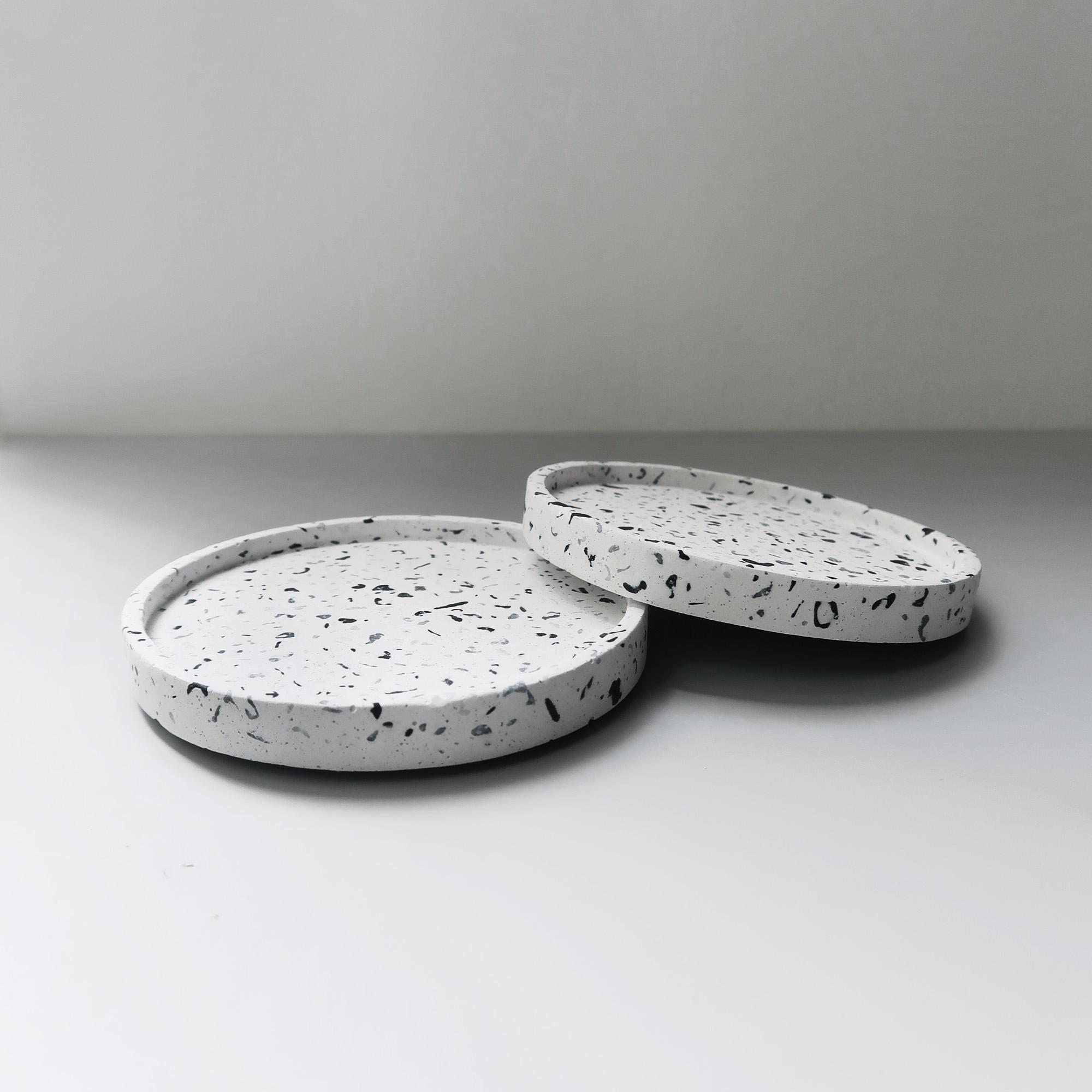 TERRAZZO 磨石子經典黑白水泥杯墊・飾盤・禮物