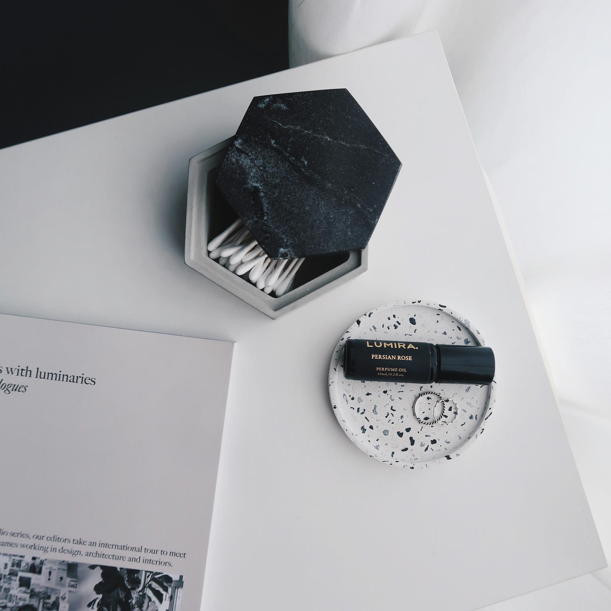 TERRAZZO 磨石子經典黑白水泥杯墊・飾盤・擴香盤