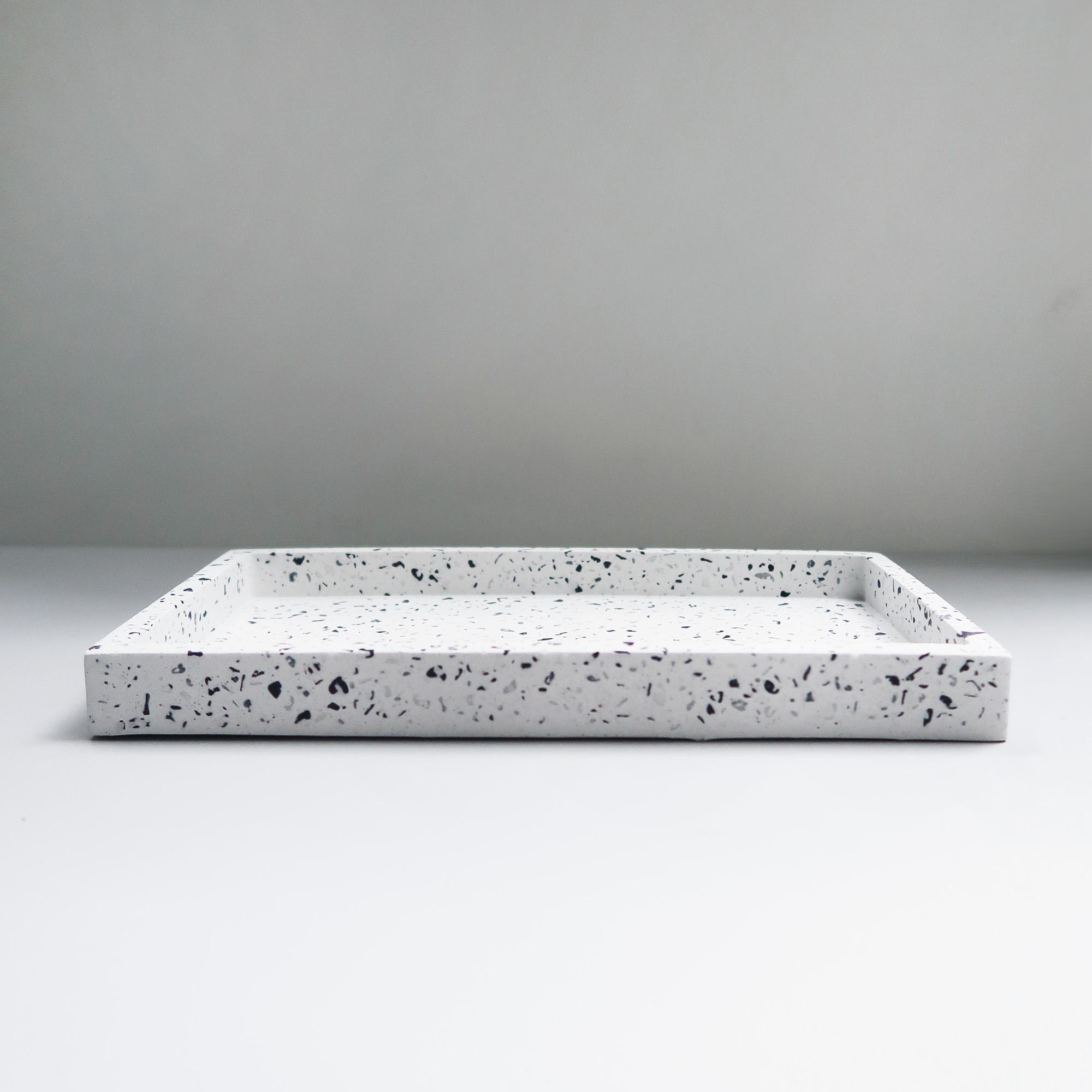 TERRAZZO 磨石子經典黑白水泥長方盤・拖盤・禮物