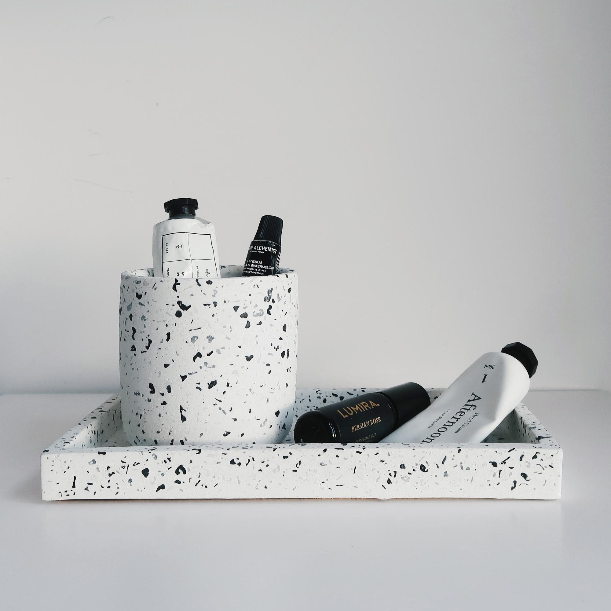 Terrazzo 磨石子經典黑白水泥收納罐・置物盆・禮物