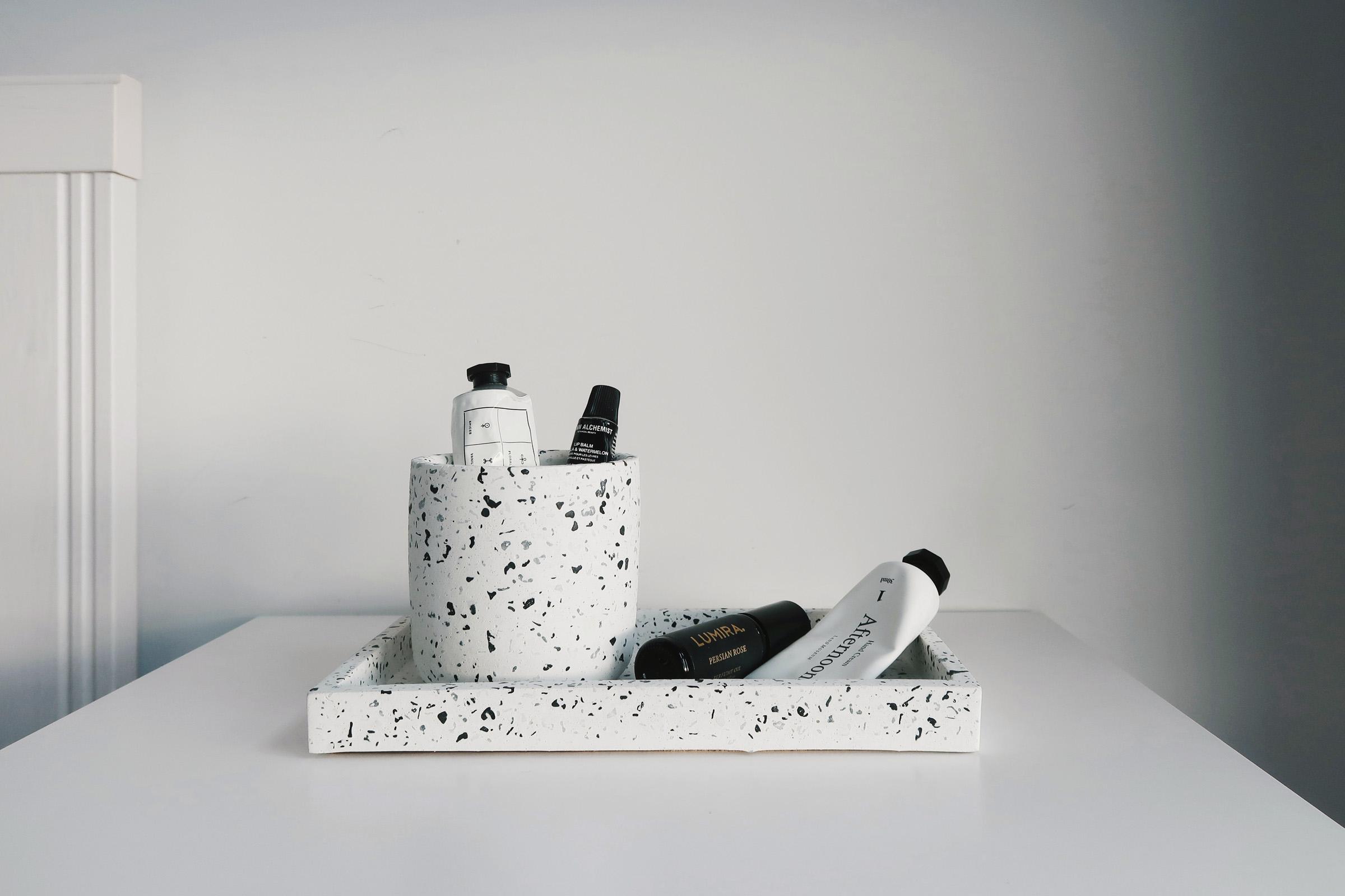 TERRAZZO 磨石子經典黑白水泥長方盤・拖盤・收納盤