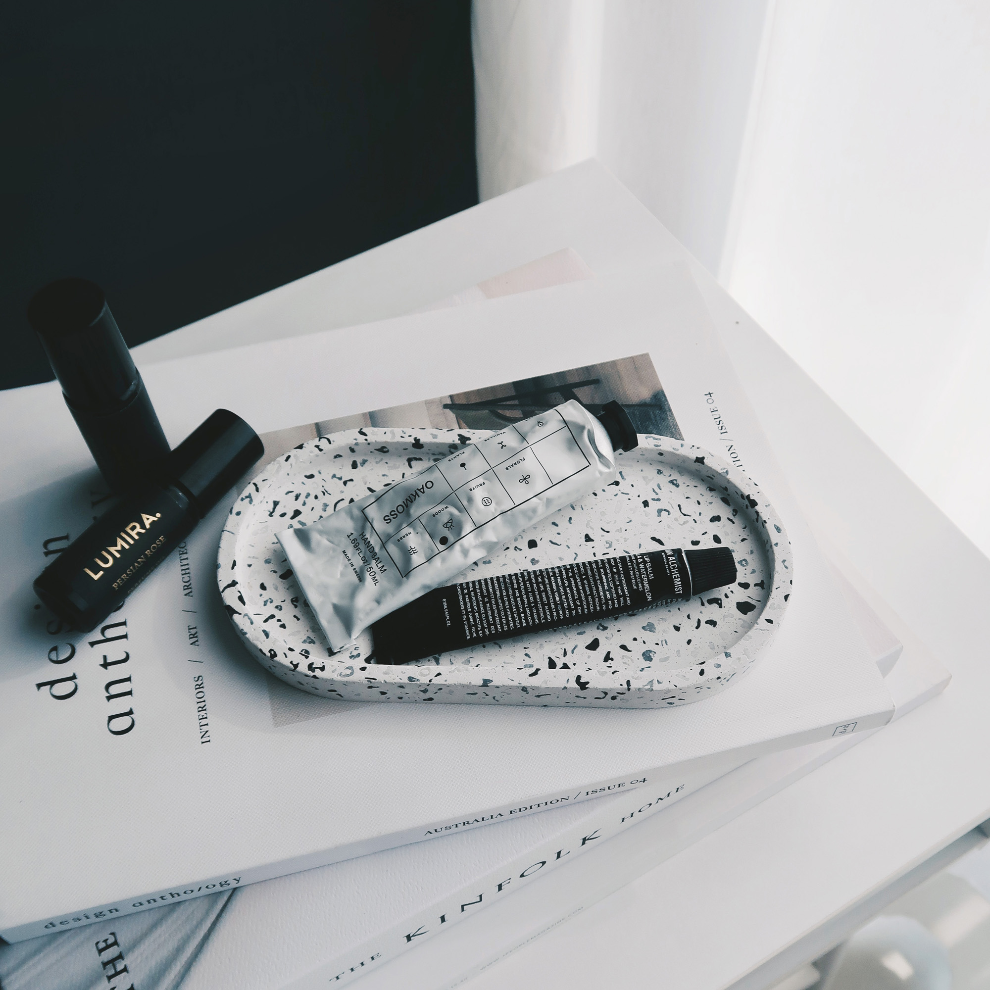 TERRAZZO 磨石子經典黑白水泥橢圓盤・飾盤・擴香盤